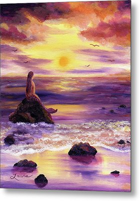 Mermaid In Purple Sunset Metal Print by Laura Iverson