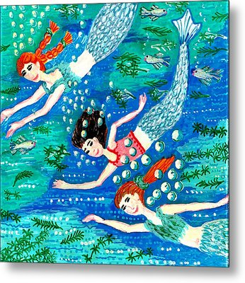 Mermaid Race Metal Print by Sushila Burgess