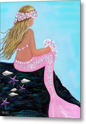 Metal Print featuring the painting Mermaid Sweetie by Leslie Allen