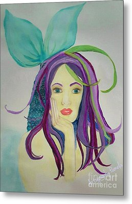 Mermaid With Mardis Gras Hair Metal Print by ARTography by Pamela Smale Williams