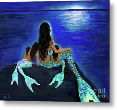 Metal Print featuring the painting Mermaids Fun Bunch by Leslie Allen