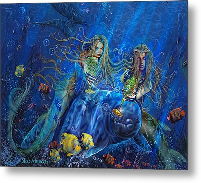 Metal Print featuring the painting Mermaids Of Acqualainia by Steve Roberts