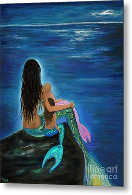Metal Print featuring the painting Mermaids Sweet Little Girls by Leslie Allen