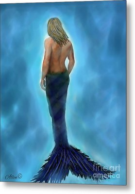Metal Print featuring the painting Merman Majestic by Leslie Allen