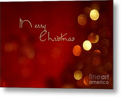 Merry Christmas Card - Bokeh Metal Print