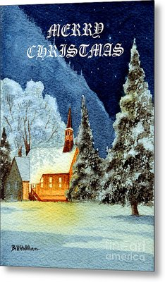 Merry Christmas Card Yosemite Valley Chapel Metal Print by Bill Holkham