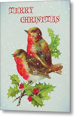 Merry Christmas Snowy Bird Couple Metal Print