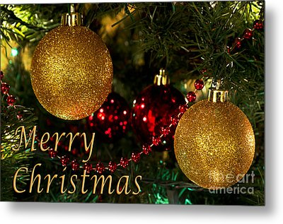 Merry Christmas With Gold Ball Ornaments Metal Print by Maria Janicki