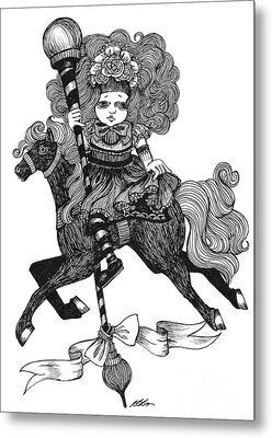 Merry-go-round Girl Metal Print