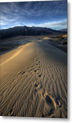 Mesquite Flats Footsteps Metal Print by Peter Tellone