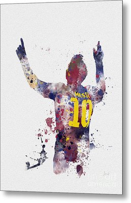 Messi Metal Print by Rebecca Jenkins