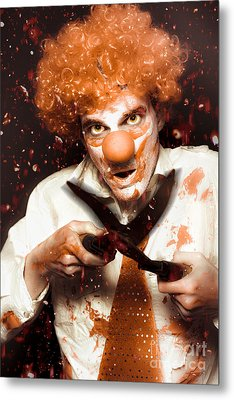 Messy Homicidal Clown In Bloody Horror Massacre Metal Print