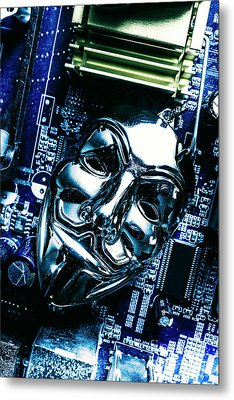 Metal Anonymous Mask On Motherboard Metal Print