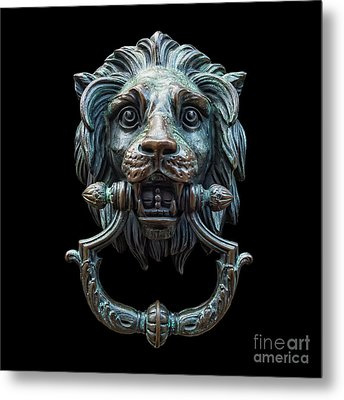 Metal Print featuring the photograph Metal Lion Head Doorknocker Isolated Black by Antony McAulay