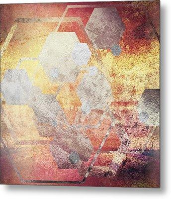 Metallic Gold And Silver Hexagons Metal Print by Brandi Fitzgerald