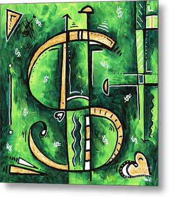 Metallic Gold Dollar Sign For The Love Of Money Mini Pop Art Painting Madart Metal Print