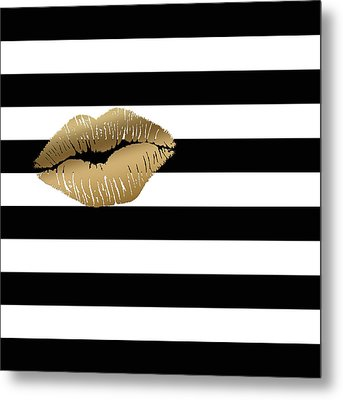 Metallic Gold Lips Black And White Stripes Metal Print by Georgeta Blanaru