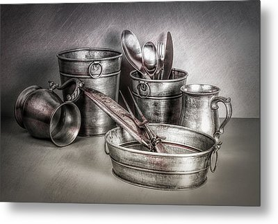 Metalware Still Life Metal Print by Tom Mc Nemar