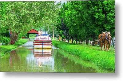 Metamora, Whitewater Canal, Ben Franklin Boat In Indiana Metal Print by Ina Kratzsch