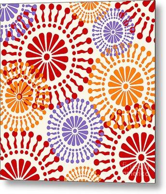 Metro Retro Circle Pattern Warm Metal Print by Mindy Sommers