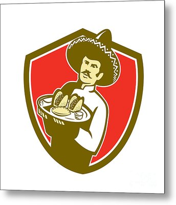 Mexican Chef Cook Serving Taco Plate Shield Metal Print by Aloysius Patrimonio