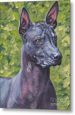 Metal Print featuring the painting Mexican Hairless Dog Standard Xolo by Lee Ann Shepard