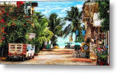 Mexican Side Street Metal Print by Gina Cormier