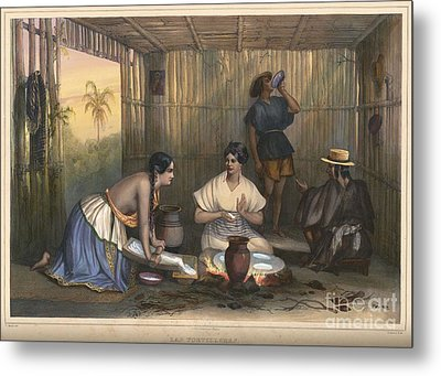 Mexican Women Grinding Corn And Making Tortillas In Mexico Metal Print by Celestial Images