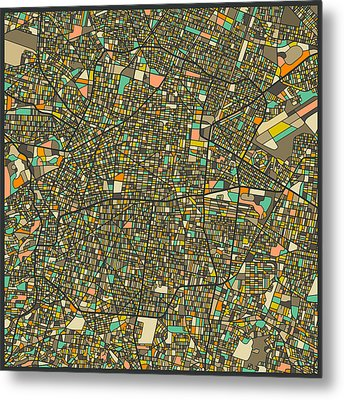 Mexico City Map Metal Print by Jazzberry Blue
