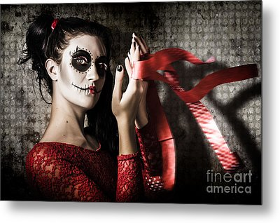 Mexico Sugar Skull Girl Performing Death Dance Metal Print by Jorgo Photography - Wall Art Gallery