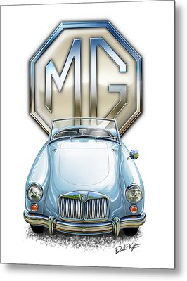 Mga Sports Car In Light Blue Metal Print by David Kyte