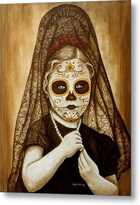 Metal Print featuring the painting Mi Hermosa Flor by Al  Molina