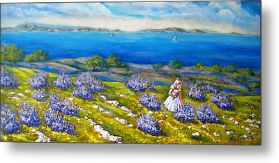 Mia On The Lavenders Field Metal Print