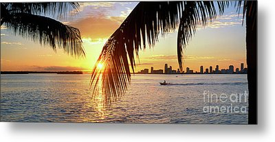 Miami Biscayne Bay Metal Print by David Zanzinger