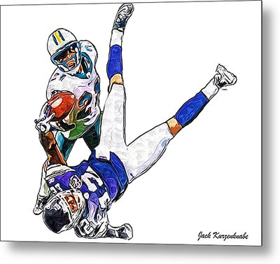 Miami Dolphins Vontae Davis And Minnesota Vikings Percy Harvin  Metal Print by Jack K