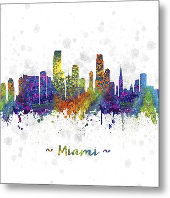 Miami Florida Skyline Color 03sq Metal Print by Aged Pixel