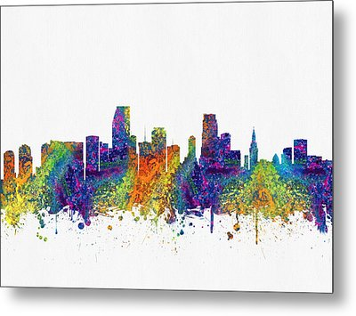 Miami Florida Skyline Color03 Metal Print by Aged Pixel