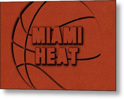 Miami Heat Leather Art Metal Print