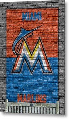 Miami Marlins Brick Wall Metal Print