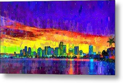 Miami Skyline 108 - Da Metal Print