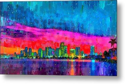 Miami Skyline 114 - Da Metal Print