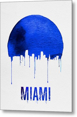 Miami Skyline Blue Metal Print