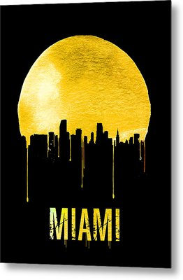Miami Skyline Yellow Metal Print by Naxart Studio