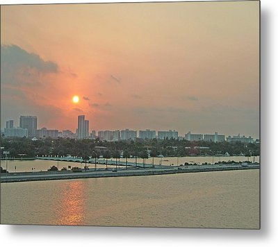 Metal Print featuring the photograph Miami Sunrise by Gary Wonning
