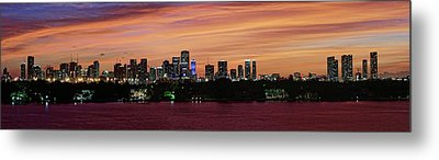 Metal Print featuring the photograph Miami Sunset Panorama by Gary Dean Mercer Clark