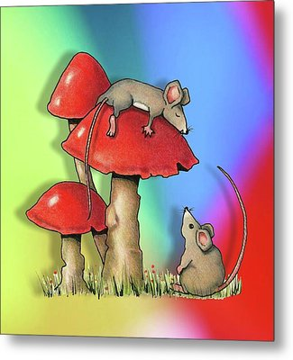 Mice With Toadstools Metal Print by Joyce Geleynse