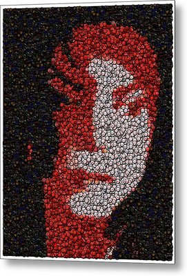 Michael Jackson Bottle Cap Mosaic Metal Print by Paul Van Scott
