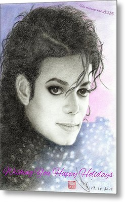 Michael Jackson Christmas Card 2015 - 'his Message Was Love' Metal Print by Eliza Lo