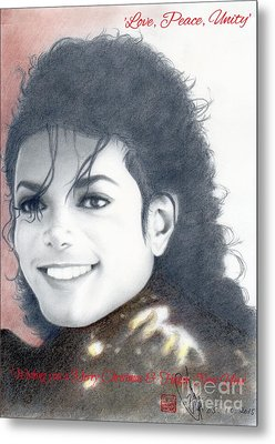 Metal Print featuring the drawing Michael Jackson Christmas Card 2015 - 'love, Peace, Unity' by Eliza Lo