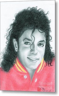 Metal Print featuring the drawing Michael Jackson #seven by Eliza Lo